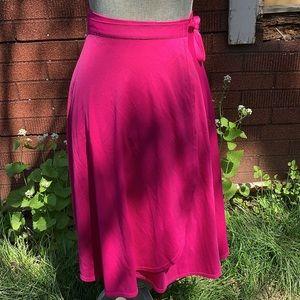 3/$25 Vintage hot pink disco tie up wrap skirt